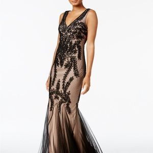 NWT Betsy & Adam Soutache Mermaid Gown, Size 4